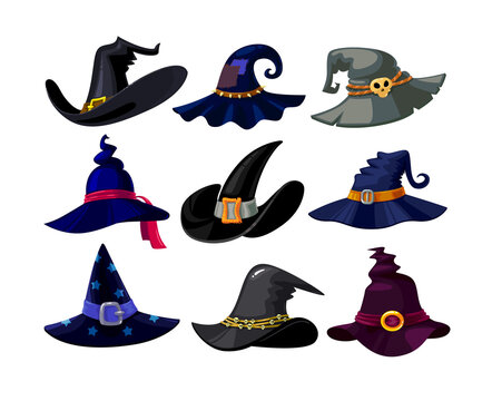 Set of Witch Hats Icons, Wizard Headwear of Different Design Isolated on White Background. Magic Traditional Caps