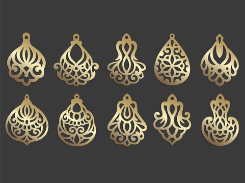 Wooden or faux leather earring design. Laser cut jewelry template. Ornate pendant vector design.