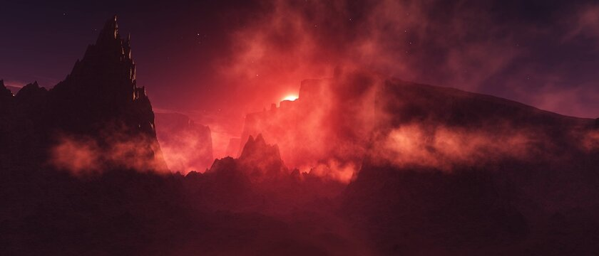 Mars, sandstorm, surface of mars at sunset in a storm, 3D rendering
