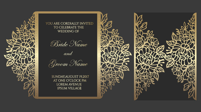 Floral gate fold laser cut wedding invitation design. Vector template for laser cutting.