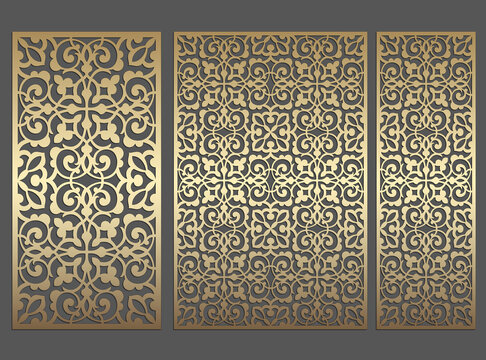 Repeating laser cut panel design. Ornate vintage border template for laser cutting, stained glass, glass etching, sandblasting, wood carving, cardmaking, wedding invitations, stencils.