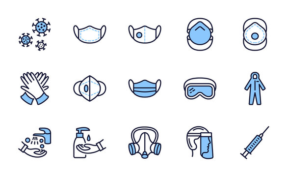 Covid-19 protection equipments and clothing. Various types of protective masks and respirators and gloves,goggles, medical suit, face shield. Blue color. Editable strokes