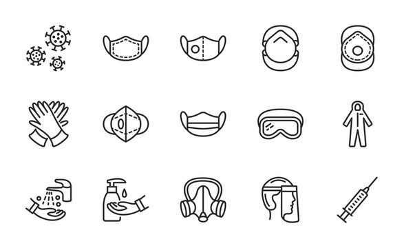 Covid-19 protection equipments and clothing. Various types of protective masks and respirators and gloves,goggles, medical suit, face shield. Editable strokes
