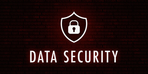 Banner Data Security - Shield icon on background with binary code.
