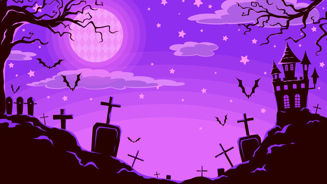 Night Halloween abstract background. Castle, spooky tree, forest, tomb, gravestone, bat, silhouette element. Purple-black tone. Vector Illustration, background, decoration and wallpaper.