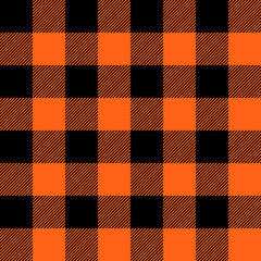 Tartan Halloween Orange plaid. Scottish pattern in black and orange cage. Scottish cage. Traditional Scottish checkered background. Seamless fabric texture. Vector illustration
