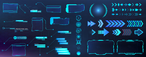 GUI, HUD, UI futuristic elements set. Callouts, buttons, futuristic bar labels, information call box bars, arrows neon, frame screen. Futuristic user elements. Vector HUD colorful set
