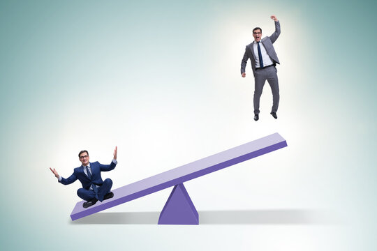 Competition concept with businessman and seesaw