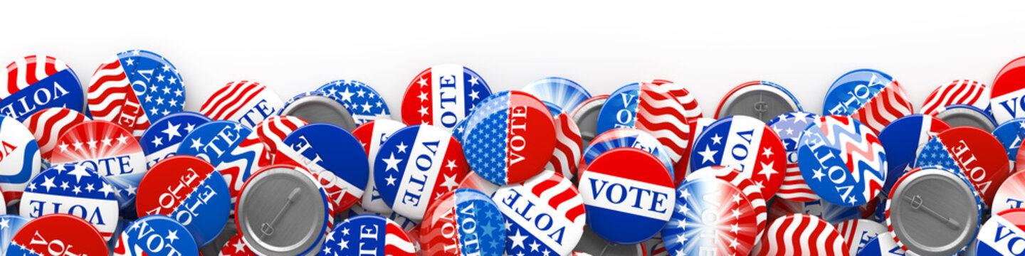 Pile of American red, white, and blue Vote pins. Collection of voting buttons for US presidential election or local elections. 3d render.