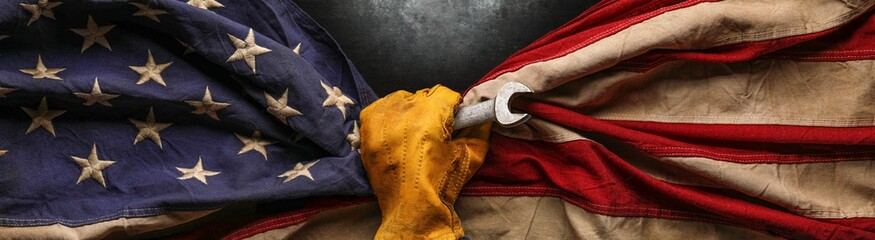 Printed roller blinds Asia Country Worn work glove holding wrench tool and gripping old worn US American flag. Made in USA, American workforce, blue collar worker, or Labor Day concept.