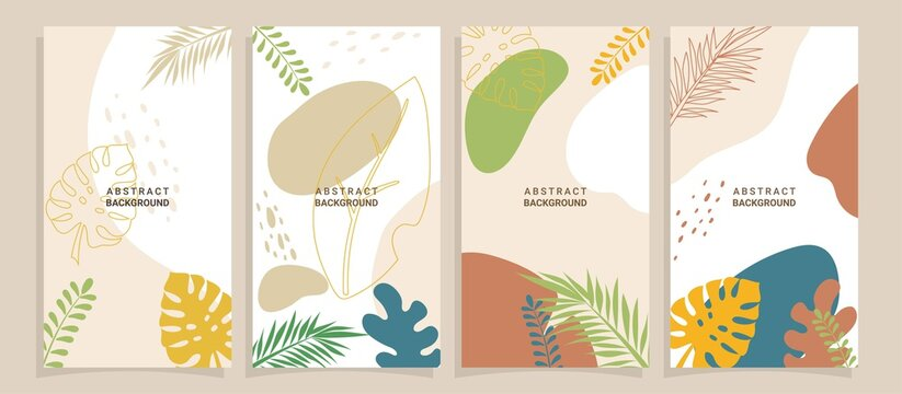 Vector set of abstract backgrounds with copy space for text - bright vibrant banners, posters, cover design templates, social media stories wallpapers with summer leaves