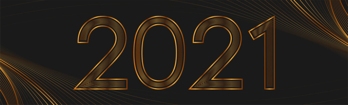 2021 New Year golden abstract wavy banner design. Luxury art deco Christmas holidays background