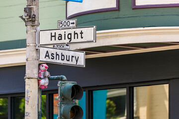 Haight Ashbury street intersection sign in the famous eclectic neighborhood, hippie area of San Francisco, USA