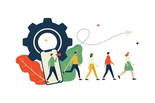 Vector illustration, refferal marketing concept, friends loyality program, promotion method
