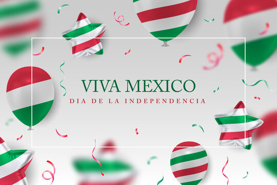 Viva mexico Independence Day vector background with realistic 3d balloons