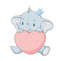 Cute baby elephant in a crown with a big pink heart, vector illustration.