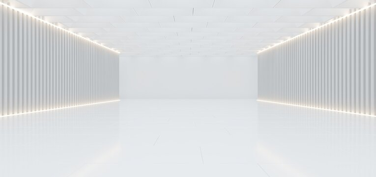 Abstract architectural minimalistic background. Contemporary showroom. Modern concrete exhibition stand. Empty gallery. Backlight. 3D illustration and rendering.