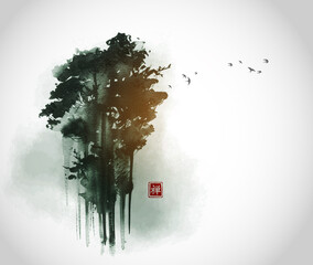 High green forest trees and flock of birds n in fog. Traditional oriental ink painting sumi-e, u-sin, go-hua. Translation of hieroglyph - zen