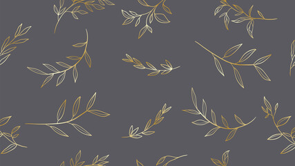 Floral line art. Vector seamless background pattern. Foliage hand drawn design for art deco, wallpaper, print, fabric and website.