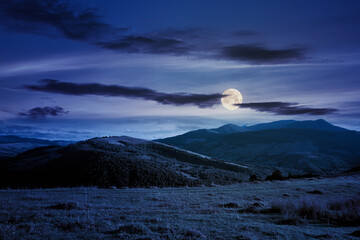 beautiful carpathian countryside at night. wonderful autumn landscape in mountains. rural scenery with agricultural fields on rolling hills in full moon light. watershed ridge in the distance