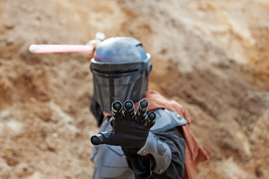 Umea, Norrland Sweden - August 14, 2020: character trying to use the force in battle