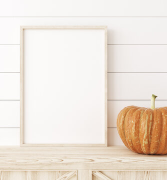 Mockup frame close up with pumpkins in interior background, 3d render