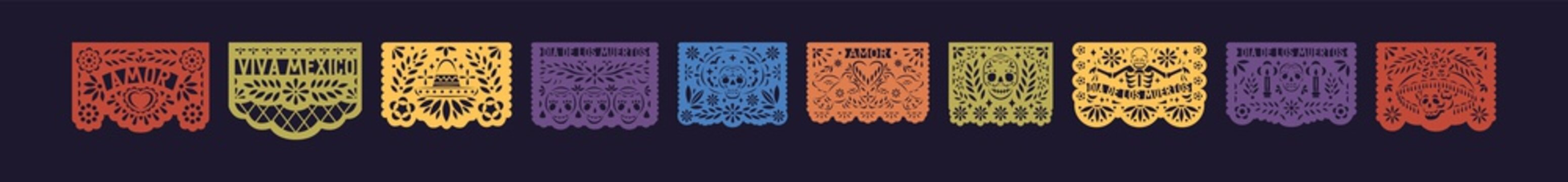 Bright festive set of mexico paper lace. Decorative papel picado with skull for Halloween or Dia De Los Muertos. Flat vector illustration of fiesta pattern for Day of the Dead isolated on black