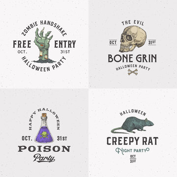 Vintage Style Halloween Logos or Labels Template Set. Hand Drawn Scull, Zombie Arm, Poison Flask and Rat Sketch Symbols Collection. Retro Typography. Shabby Textures Background.