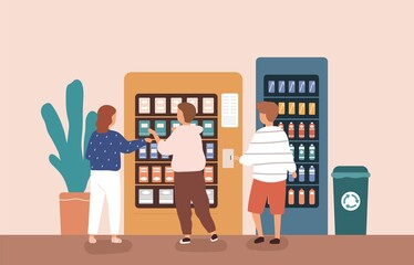 Children buying snack and beverage at vending machine vector flat illustration. Group of kids choosing and paying junk food or sweet isolated. Friends use modern self service interactive kiosk