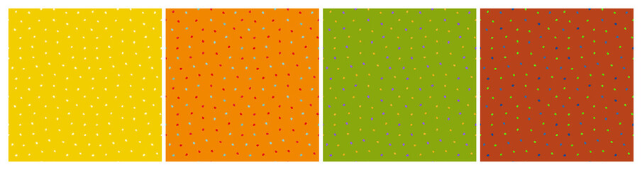 Photo sur Plexiglas Artificiel Set of seamless patterns with tiny berries. Repeat abstract speckled patterns. Vector illustration.