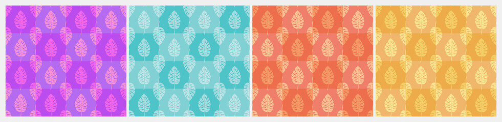 Set of light geometric seamless patterns with vertical rows of staggered monstera tropical leaves with veins. Repeat symmetrical chess grid order botanical patterns. Vector illustration. Fotobehang