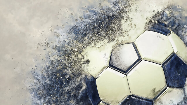Soccer ball with particles illustration combined pencil sketch and watercolor sketch. 3D illustration. 3D CG. High resolution.