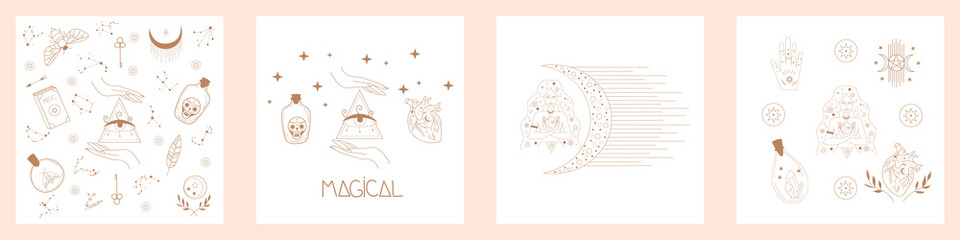 Collection of Mystical and Mysterious objects for Halloween featuring Scared Witch, Crystal, Glass, Heart, Lady Hands Symbols. Minimalistic Elements in line style. Flat Vector Illustration