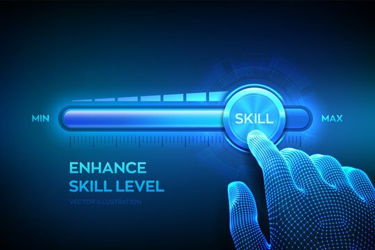 Skill levels growth. Increasing Skills Level. Wireframe hand is pulling up to the maximum position progress bar with the word Skill. Concept of professional or educational knowledge. Vector. EPS10.