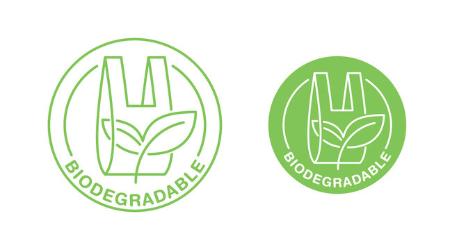 Biodegradable plastic packet sign - eco friendly compostable material production - environment protection emblem