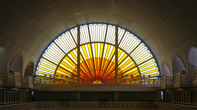 Roubaix, France - august. 30, 2020 : The Roubaix swimming pool, a museum set in an old Art Deco-style swimming pool. Northern France
