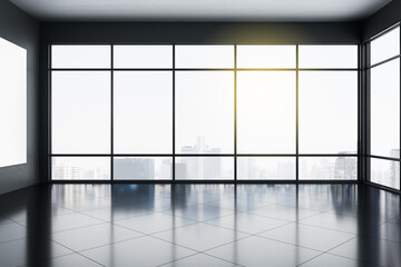 Light empty office interior with panoramic city view