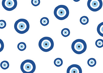 Evil eye vector pattern. Evil eye blue pattern wallpaper.