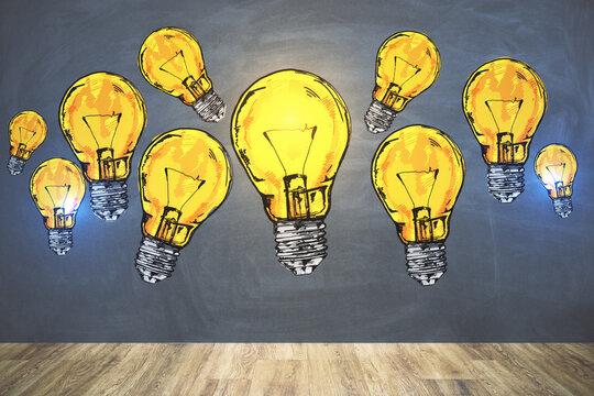 Drawing many yellow lightbulbs sketch