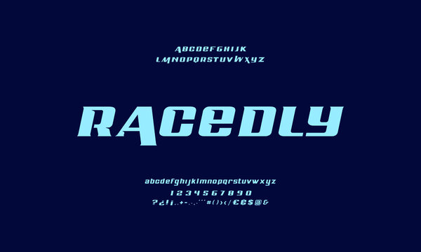 Futuristic alphabet collection. Modern abstract typography. Technology font style.
