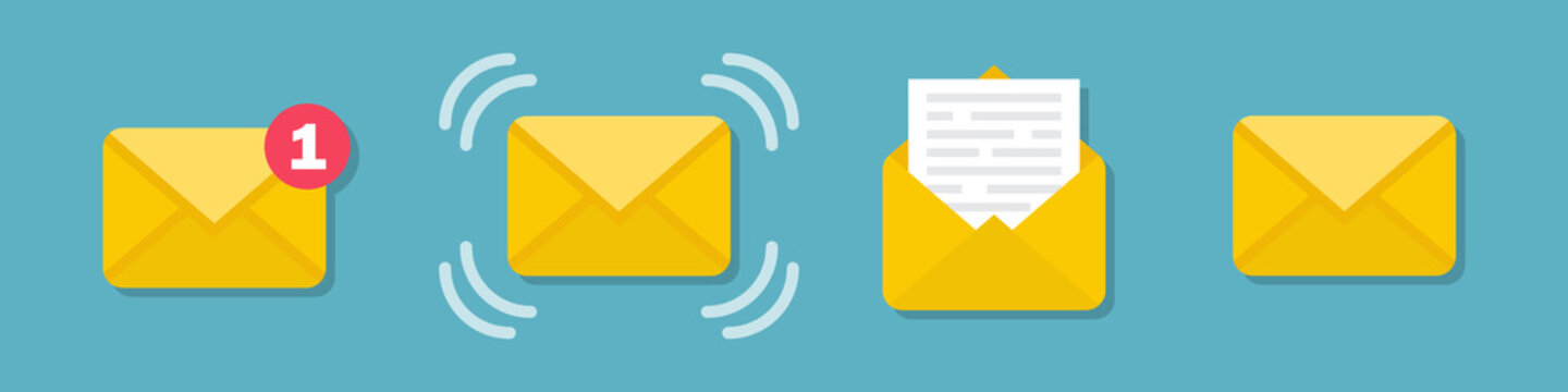 Set of email message envelope icons in a flat design