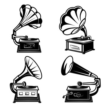 Gramophones. Vintage music players with vinyl records retro phonograph box song equipment vector monochrome collection. Music gramophone sound, retro phonograph illustration
