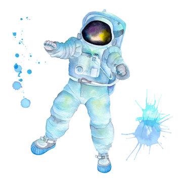 Watercolor astronaut in costume and helmet. Watercolor splash splatters