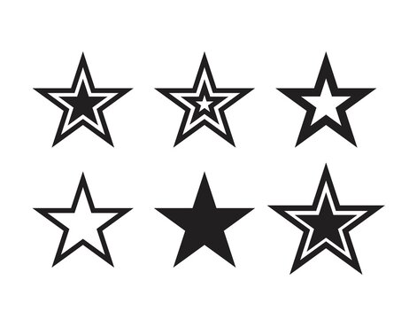 Star icons. Vector symbols star isolated on white background. Dallas Star. Design template.