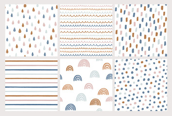Set of hand drawn vector patterns in trendy colors. Doodles made with ink. Rainbow, stripes, dots, rain drops, brush strokes. Seamless geometric backgrounds.