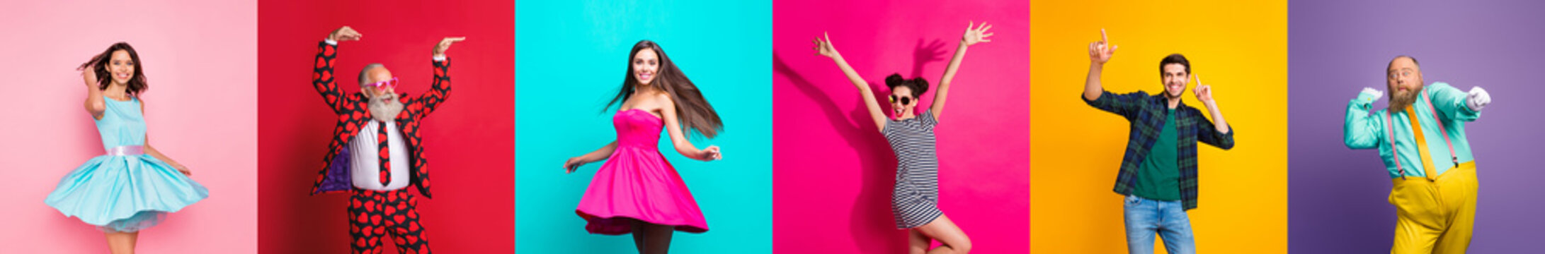 Collage photo six cool funny active modern people diversity fancy ladies hipster guys men good mood discotheque festive clubbers isolated many colors violet teal yellow pink red background