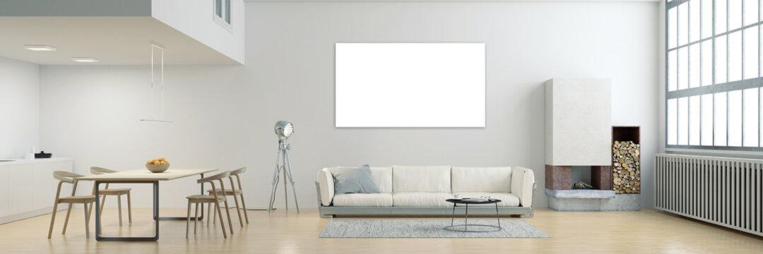 Leinwand oder Posterdruck Mock-Up über Sofa in Loft