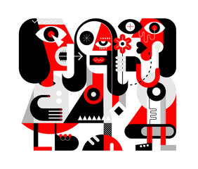 A woman gives a flower to her friend. A man nearby screams and shows aggression. Red, black and grey isolated on a white background Three People modern abstract art vector illustration.