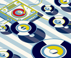 Vintage turntable and vinyl records