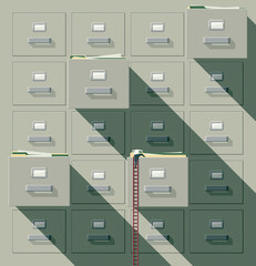 Man searching paperwork in a huge filing cabinet